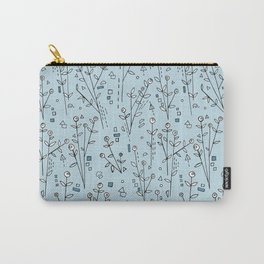 Blue, White, Black and Gray Floral Pattern Carry-All Pouch
