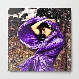Boreas 1903 by John William Waterhouse in purple decor Metal Print