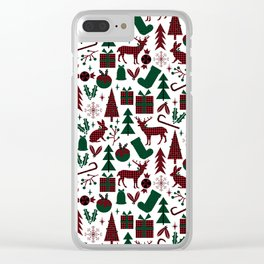 Plaid antler deer stocking christmas pudding christmas trees candy canes Clear iPhone Case