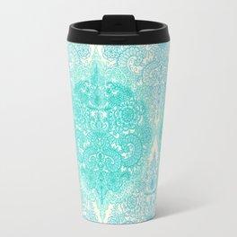 Happy Place Doodle in Mint Green & Aqua Travel Mug