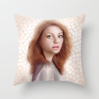 emma stone Throw Pillows featuring Emma Stone by Jessica Guetta