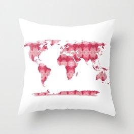 Shibori Map of World 10 Throw Pillow