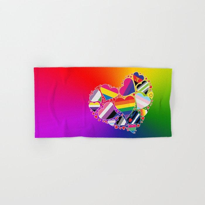 LGBTQA+ Community Pride Heart Hand & Bath Towel