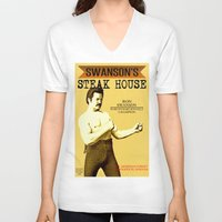 parks and rec V-neck T-shirts featuring Ron Swanson  |  Steak House Parody |  Parks and Recreation by Silvio Ledbetter