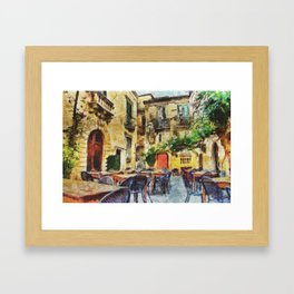 Vintage streets in Calabria Tropea Framed Art Print