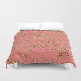 Coral Classic Floral Duvet Cover