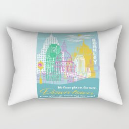 WPA Style Downtown (Detroit) Illustrated Print  Rectangular Pillow