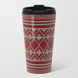 Knitted sweater pattern in red and beige Travel Mug
