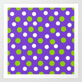 Purple with white and green dots Art Print