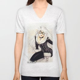 Black Cat Unisex V-Neck