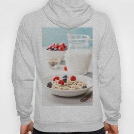 Oatmeal porridge with fresh berries and almond milk Hoody