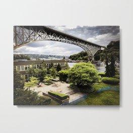 Seattle Fremont bridge - river view Metal Print