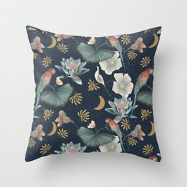 Lotus and fantasy flora by night Throw Pillow