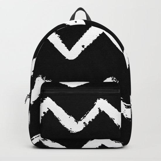 Chevron Stripes White on Black Backpack