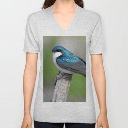 Male Tree Swallow II Unisex V-Neck