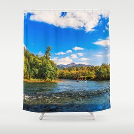 Rafting along the Bystraya (Fast) river, Kamchatka Shower Curtain