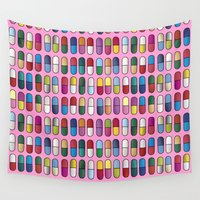 pills Wall Tapestries featuring Colorful Pills by Sr Manhattan