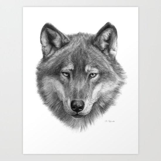 Wolf face G084 Art Print