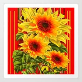 GOLDEN YELLOW KANSAS SUNFLOWERS RED ART Art Print