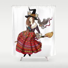 Mabel and her owls Shower Curtain