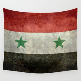 Syrian national flag, vintage Wall Tapestry