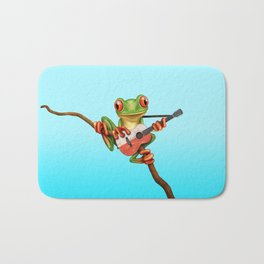 Tree Frog Playing Acoustic Guitar with Flag of Poland Bath Mat