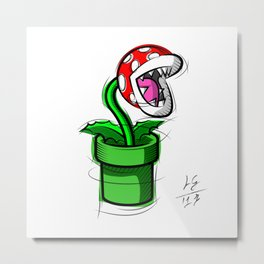 Piranha Plant Digital Drawing, Games Art, Super Mario, Nintendo Art Metal Print