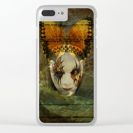 Surrealistic Venetian Mask Clear iPhone Case