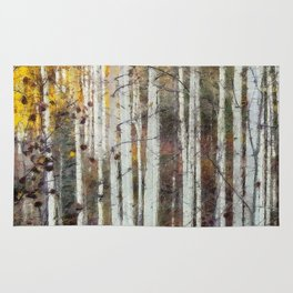 Northern Birch Forest Painting Rug