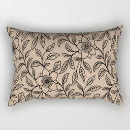 Vintage Lace Floral Hazelnut Rectangular Pillow