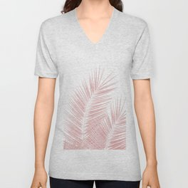 Blush Pink Palm Leaves Dream - Cali Summer Vibes #1 #tropical #decor #art #society6 Unisex V-Neck
