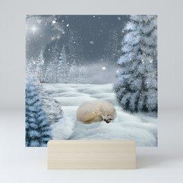 Sleeping polar fox Mini Art Print