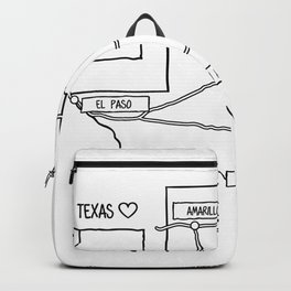 Texas State Map Black Outlines Backpack