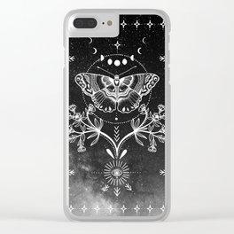 Magical Moth Black Clear iPhone Case