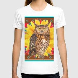 COFFEE BROWN SUNFLOWER ART DECO OWL T-shirt