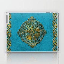 Hunab Ku Mayan symbol Vintage gold on old stone Laptop & iPad Skin
