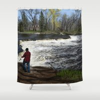spawn Shower Curtains featuring Salmon Jump by Michael Hewitt