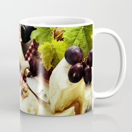 Wine, grape and cheese on wooden background Coffee Mug