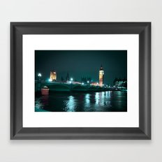 Big Ben and Houses of Parliament, Aquamarine Framed Art Print