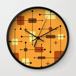 Rounded Rectangles Squares Orange 2 Wall Clock