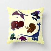 cartoons Throw Pillows featuring Dinosaur Cartoons by Cartoonasaurus