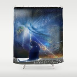 Cyberspace Cat Shower Curtain