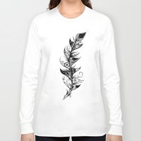feather Long Sleeve T-shirts featuring Feather by LouJah