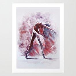 Ballet study in pink, watercolor and pastel artwork Art Print