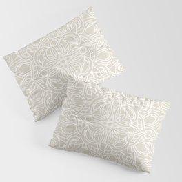 White Lace Mandala on Antique Ivory Linen Background Pillow Sham