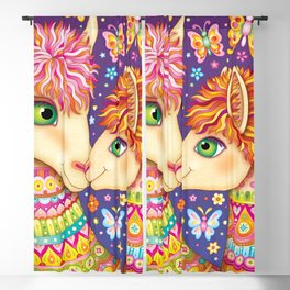 Rainbow Llamas Art - Colorful Llama Art by Thaneeya McArdle with Butterflies and Flowers Blackout Curtain