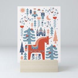 Scandinavian Inspired Folkstory - Red + Blue Mini Art Print