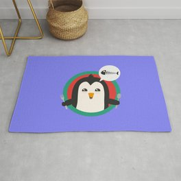 Penguin with cutlery and fish Rug