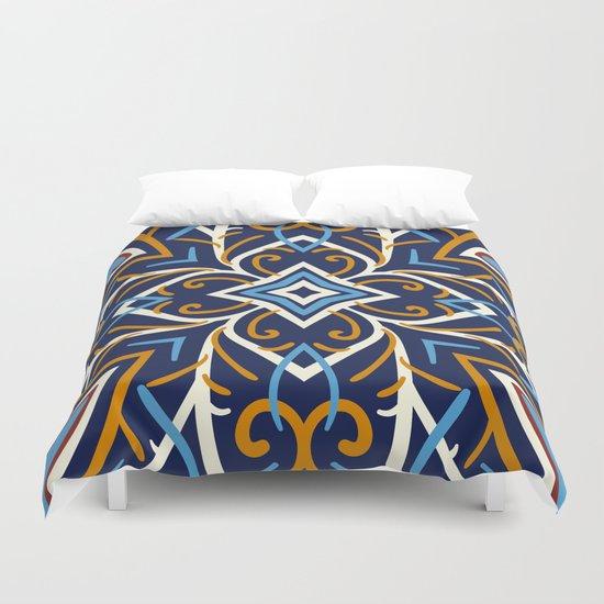 Decorative Floral Pattern 3 - Blue Shakespeare , Mango Tango, Cream Duvet Cover
