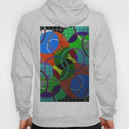 Caged Geometry - Abstract, metallic, geometric, rainbow coloured circles Hoody